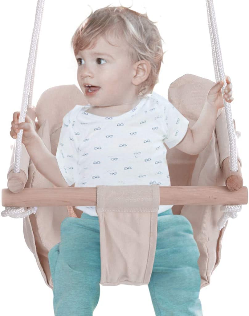 Kids Swings Canvas Hammock Chairs Swing Seat Indoor Outdoor Toddler Swings Hanging Swing Seat Chair With Seat Cushion Adjustable Hammocks Basket Swings Chairs With Hanging Rope Beige Porch Swings