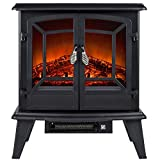 Golden Vantage 20″ 1500W Adjustable 5200 BTU Freestanding 2-Setting Portable Tempered Glass Electric Fireplace Stove Heater (Black)