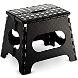 Folding Step Stool - Lightweight 11 Inch Step Stool is Sturdy Enough to Support Adults and Safe Enough for Kids Opens Easy with One Flip. Great for Kitchen, Bathroom, Bedroom, Kids or Adults. (Black)