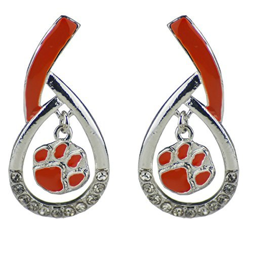 Sandol Clemson Tigers Tear Drop Stud Earrings (Clemson University Paw Earrings)