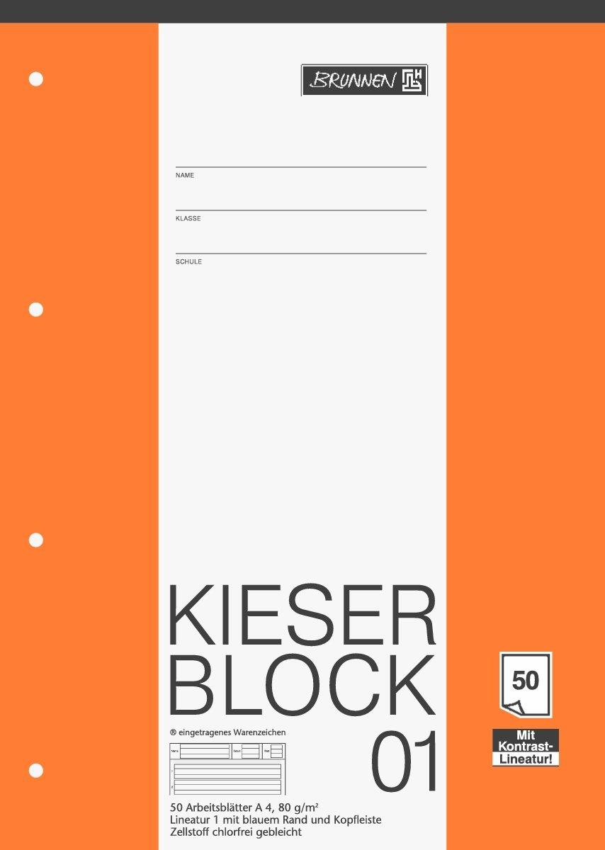 Brunnen Kieserblock 01, 50 Blatt / Lineatur 1 - DinA4 / 80 g