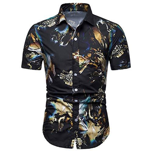SFE Mens Fashion Shirts,Men Summer Bohe Floral Short Sleeve Basic T Shirt Blouse Top Plus Size Black -