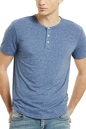 Zengjo Mens Henley Short Sleeve 3 Button T Shirts for Men (M, Heather Blue) ()