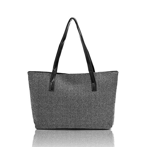Sinwo Women Canvas Handbag Shoulder Bags Shopping Casual Totes (Black)