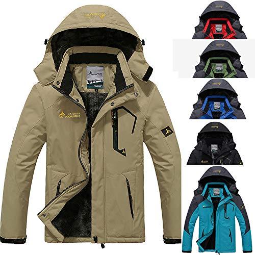 2019 Men's Waterproof Windproof Rain Snow Jacket Hooded Fleece Ski Coat