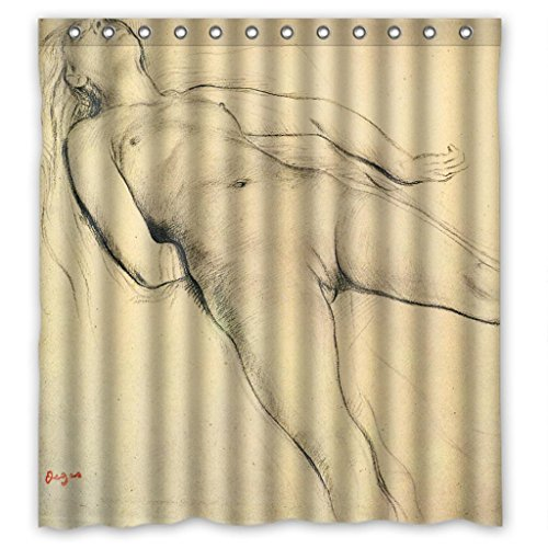 Nude on the edge of the bath High Quality Waterproof Bathroom Shower Curtain - Nude Solstice