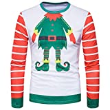 PASATO Classic Men Autumn Winter Xmas Christmas Printing Top Men's Long-Sleeved T-Shirt Blouse Clearance Sale(Multicolor, XXL=US:XL)