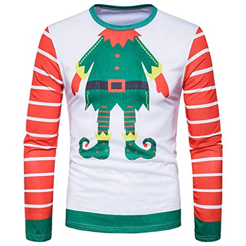 PASATO Classic Men Autumn Winter Xmas Christmas Printing Top Men's Long-Sleeved T-Shirt Blouse Clearance Sale(Multicolor, XXL=US:XL) by PASATO