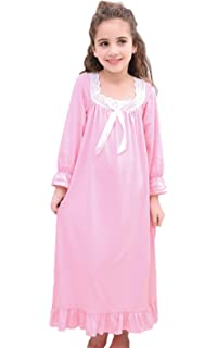 Horcute Girls Mixed-Cotton Long Sleeve Sleep Shirts Nightshirts Pajamas  Nightgown for 3-12 731af56c9