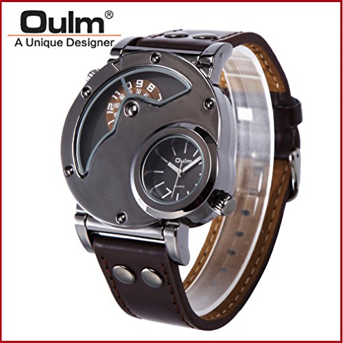 OULM watch,Mens Dual Time Quartz Analog Wrist Watch with Unique Dual Dial Design,Steel Case,Comfortable Leather Band,Two Time Zone - Black (F, 1)