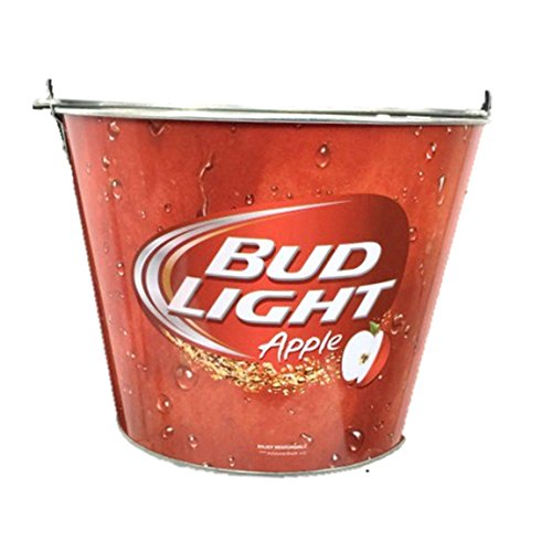 Bud Light Apple Beer Red Painted Metal Ice Bucket