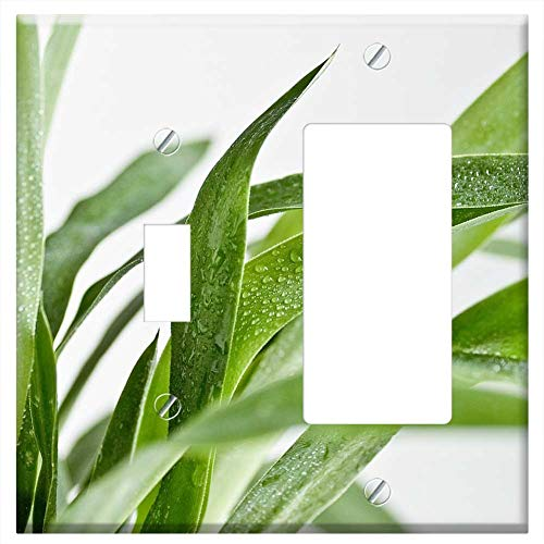 (1-Toggle 1-Rocker/GFCI Combination Wall Plate Cover - Flower Green Grey Leaf Plant Wet Yucca)