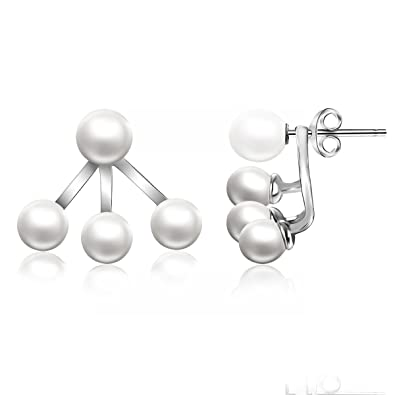 Amazon schmuck  Ohrringe Ohrstecker doppelt Sterling Silber 925 Perlen Schmuck ...