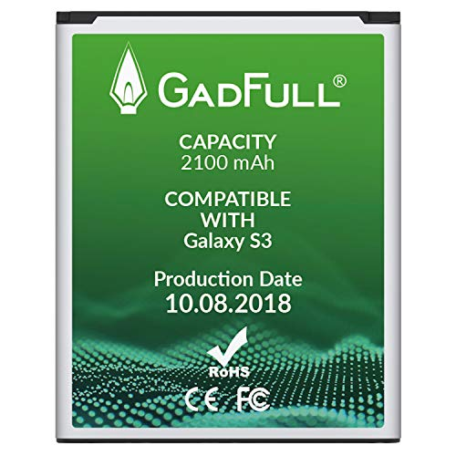 GadFull Battery for Samsung Galaxy S3 | Production Date 2018 | Corresponds to The Original EB-L1G6LLU | Smartphone Model S3 i9300 | Galaxy S3 LTE i9305 |Perfect as Replacement Battery