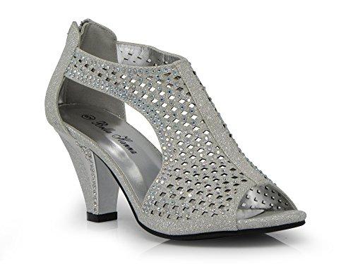 Enzo Romeo kinmi30 Womens Open Toe Mid Heel Wedding Rhinestone Gladiator Open Toe Mesh Sandal Wedge Shoes (11, Silver) by Enzo Romeo