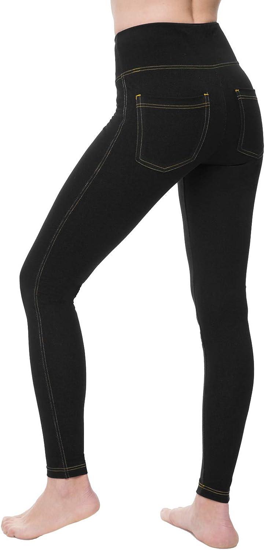 NIRLON Jeggings for Women High Waist Tummy Control Jean Leggings with Pockets Plus Size