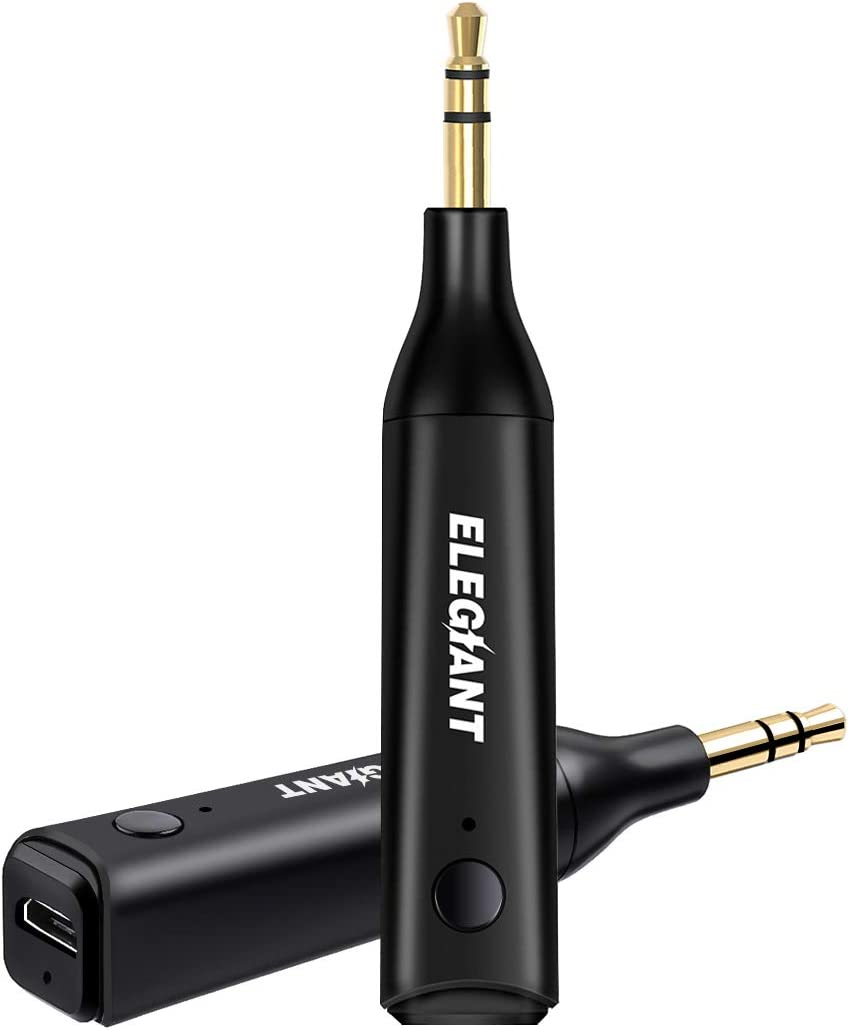 ELEGIANT Bluetooth 5.0 AUX Adapter Portable Wireless Receiver Hands-Free Calling 30M Range 3.5mm Aux Stereo Output for Car Home Audio Music Streaming Sound System Mini Bluetooth Receiver