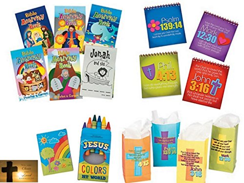 49 Piece Christian Activities For Kids: Bible Activity Pads, Sticker Books, Crayons, Gift Bags (12 Kits)