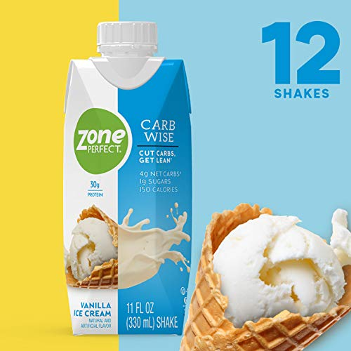 ZonePerfect Carb Wise High-Protein Shakes, Vanilla Ice Cream Flavor, for A Low Carb Lifestyle, with 30g Protein, 11 fl oz, 12 Count