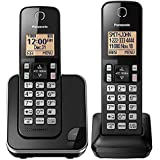 Panasonic Expandable Cordless Phone System with Amber Backlit Display – 2 Handsets – KX-TGC352B (Black