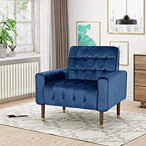 Christopher Knight Home Betsy Velvet Armchair, Modern Glam, Button-Tufted, Waffle Stitching, Navy Blue