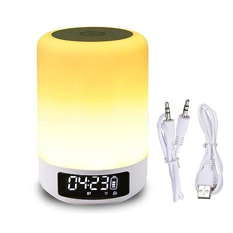 Nachtlicht & Wecker mit Bluetooth-Lautsprecher, Smart-Touch-Sensor Nachttischlampe, (dimmbare 3-Stufen-Warmweißlicht & sechs