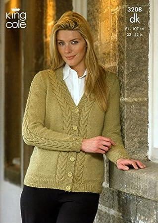 King Cole Ladies Cardigan Sweater Merino Dk Knitting Pattern 3208