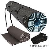 Matymats Yoga Kit - Non Slip Yoga Mat TPE Thick 1/4'', 72''×24'' + Skidless Yoga Towel...