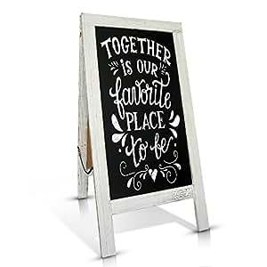 Rustic Handcrafted 100cm x 50cm Decorative A-Frame Blackboard / Double-Sided Vintage Blackboard Easel / Large Sturdy Restaurant Message Board / Vintage Magnetic Sandwich Board / Rustic Wedding decoration (Whitewashed)