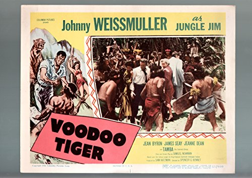 (MOVIE POSTER: VOODOO TIGER-1952-LOBBY CARD-VG/FN-ACTION-ADVENTURE-JOHNNY WEISMULLER VG/FN)