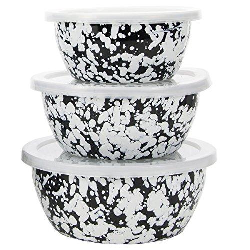 "Golden Rabbit 7""x7""x7"" Black Swirl Enamelware Nesting Bowls"