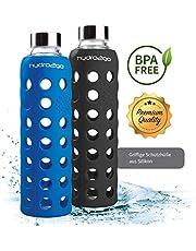 hydro2go ® Trinkflasche aus Glas mit Silikonhülle 550 ml - spülmaschinenfest | 3 auswechselbare Deckel | 100% Auslaufsicher BPA-frei - Glasflasche für Smoothies, Büro, Fitness, Yoga & Sport