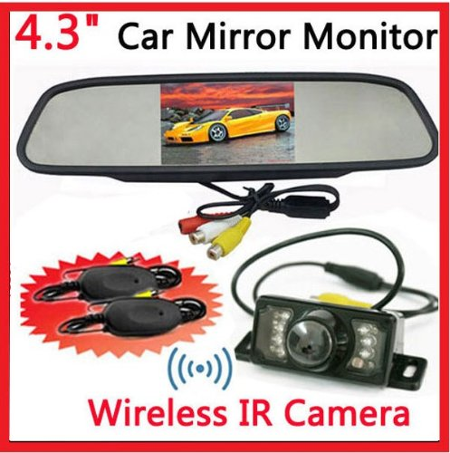 BW® 4.3 Inch TFT LCD Car Reverse Mirror Monitor Wireless Car Rearview Parking IR Night Camera System