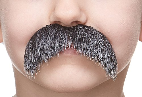 Mustaches Fake Mustache, Self Adhesive, Novelty, Small Walrus False Facial Hair, Costume Accessory for Kids, Salt and Pepper Color ()