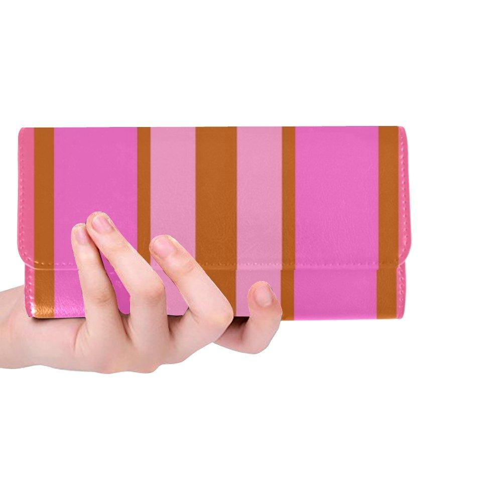 Unique Custom Pink Brown Vertical Geometric Stripes Lines Women Trifold Wallet Long Purse Credit Card Holder Case Handbag by RYUIFI