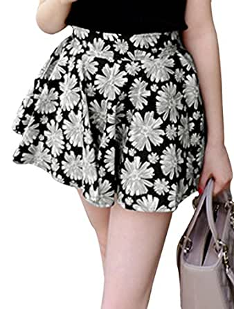 Women Zipper Back A-Line Floral Prints Casual Skort Black Gray XS