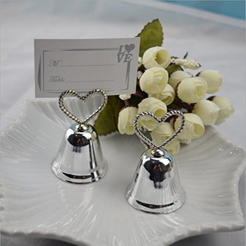 20 PCS Alloy Kissing Bell Place Card Holder Silver Heart Wedding Favors