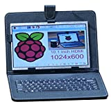 SUNKEE 10.1 Inch 1024x600 TFT Great Angle-Visibility and High Resolution LCD Screen For Raspberry Pi 3 B+ (B Plus)+HDMI Accessories With USB Leather Case Keyboard Wifi Adapter Mouse (No Raspberry Pi)