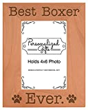 Boxer Christmas Gift Best Boxer Ever Natural Wood Engraved 4x6 Portrait Picture Frame Wood