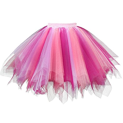 URVIP Women's Vintage 1950s Tutu Multicolor Petticoat Ballet Bubble Dance Skirt Lilac Coral Rosy L/XL