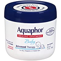 El ungüento curativo para bebés Aquaphor - Terapia avanzada para la erupción del pañal, mejillas agrietadas y raspaduras menores - Frasco de 14 oz