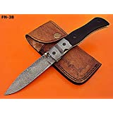 FN-38 Custom Handmade Damascus Steel Folding Knife- Solid and Durable