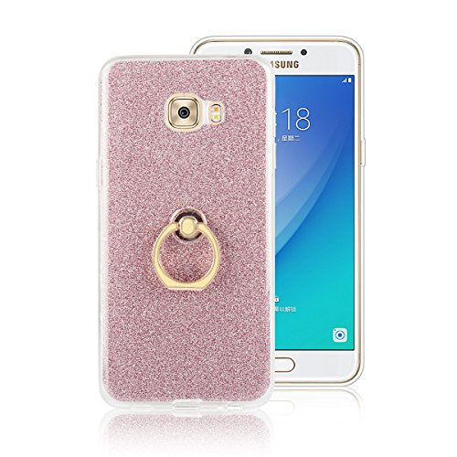 Price comparison product image Moonmini Samsung Galaxy C5 Pro. Case Cover Sparkling Slim Fit Soft TPU Back Case Cover with Ring Grip Stand Holder 2 in 322 Hybrid Glitter Bling Bling TPU phone Case Cover (Pink)