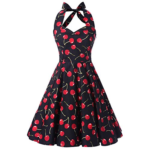 Ensnovo Womens Vintage 1950s Halter Floral Spring Garden Party Picnic Dress Cherry (Cherry Halter Dress)