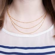 Multistrand Layered Triple Strand Satellite Chain Necklace in Gold, Silver, Rose Gold, Or Hematite Shimmer Sat