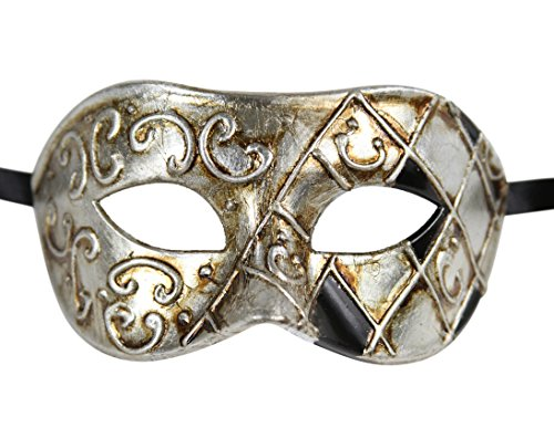 Luxury Mask Men's Vintage Design Masquerade Prom Mardi Gras Venetain, Silver/Black/Antique Finish, One (Men Masquerade Mask)