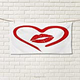 Chaneyhouse Kiss,Travel Towel,Heart Drawn in Lipstick and Woman Lip Imprint Romance Passion and Tenderness Message,Quick-Dry Towels,Red White Size: W 14'' x L 27.5''