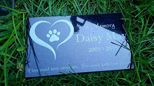 Custom Made Pet Stone Memorial Marker Granite Marker Dog Cat Horse Bird Human 6'' X 10'' Personalized Personalised Human Person People Family by Pet Stones USA