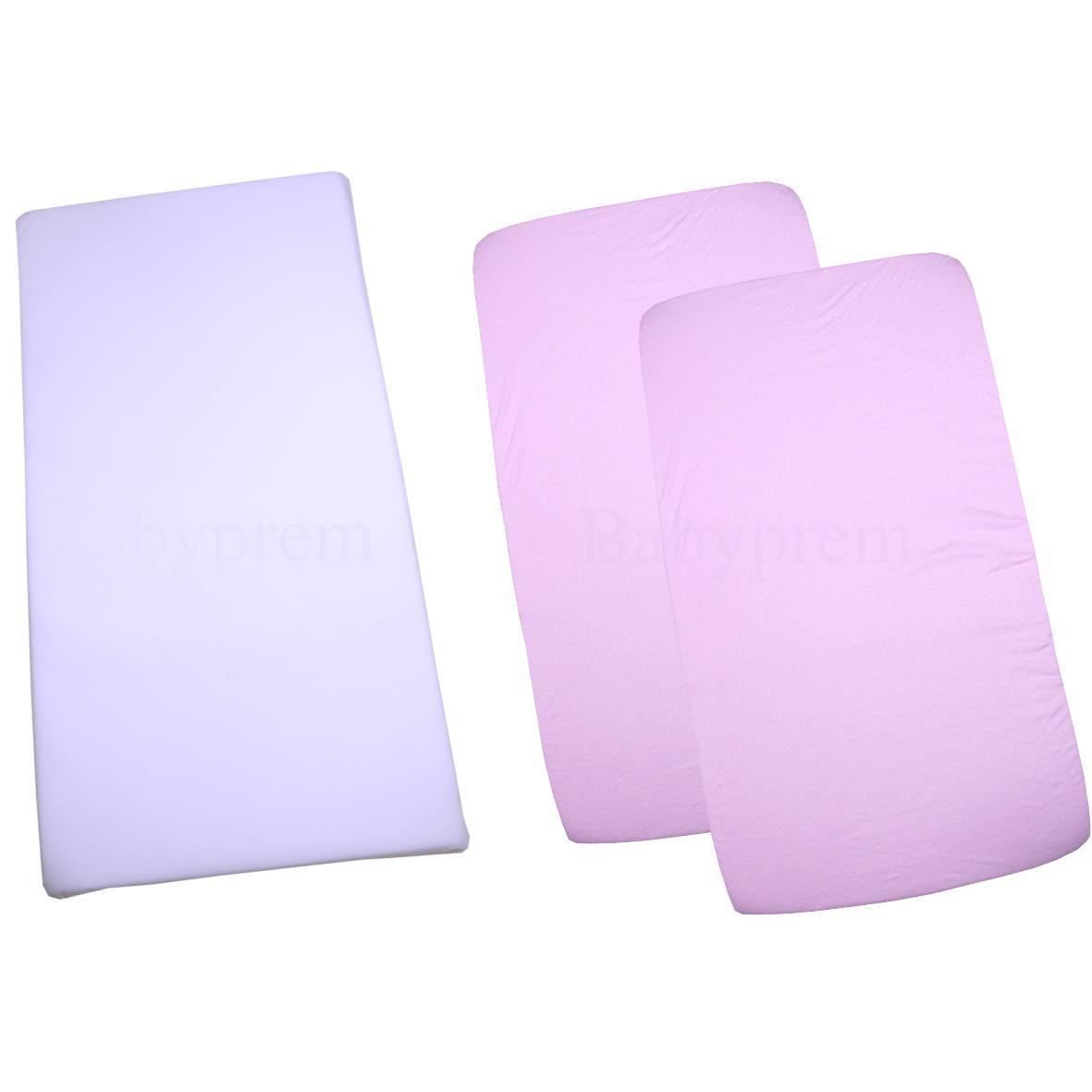 BabyPrem Crib Mattress Set - Mattress & 2 Cotton Fitted Sheets 33 x 17'' Pink