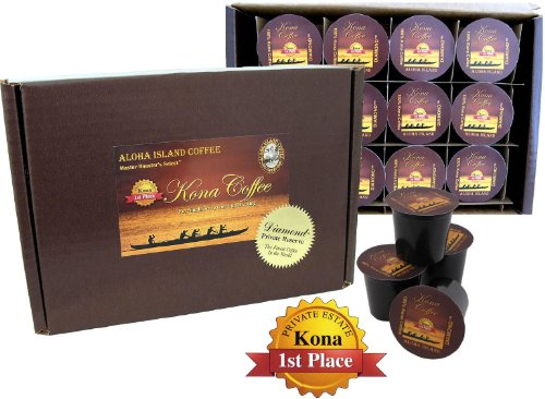 12 Single-Serve Cups of 100% Pure Kona Coffee for Use in Keurig K-cup Brewing Systems, Exclusive Private Reserve Diamond Kona-One-Cups, Medium Roast, Box of 12 - Kona In Shopping Hawaii